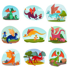 fairy dragon kids set vector image