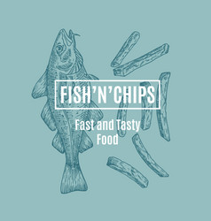 Fish and chips abstract card sign or logo vector