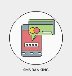Flat design concept for SMS Banking for web vector
