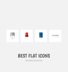 Flat icon device set of memory resist transistor vector