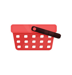 flat icon of bright red shopping basket vector image