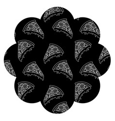 frame with pizza pattern background vector image