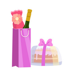 gift bag with bottle wine and cake present vector image