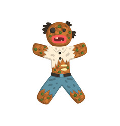 gingerbread man in costume zombie christmas vector image