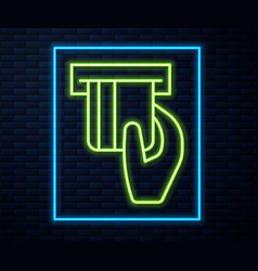 Glowing neon line credit card inserted in card vector