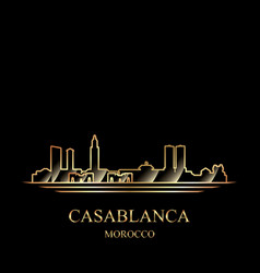 gold silhouette casablanca on black background vector image