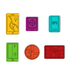 gps device icon set color outline style vector image