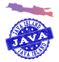 Halftone gradient map of java island and grunge vector