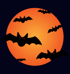 halloween bats and moon sign 109 vector image