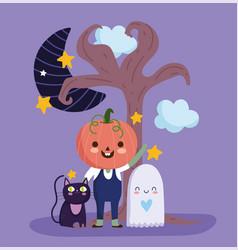happy halloween with pumpkin costume ghost vector image