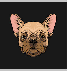 Head of pug dog face of pet animal hand drawn vector