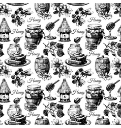 honey seamless pattern with hand drawn sketch vector image