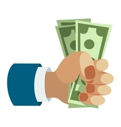 Human hand holding dollar money vector