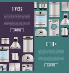 Kitchen automatic household devices posters vector