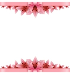 Lily flower Banner with pink bow on a white vector image