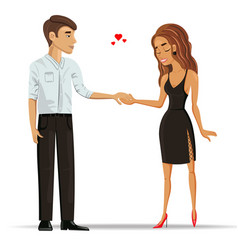Man and woman in love holding hands vector