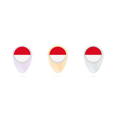 Map markers with flag indonesia 3 color vector