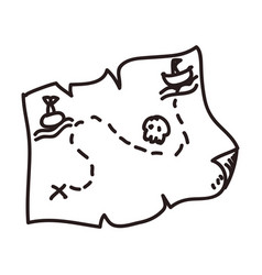 Map treasure doodle vector