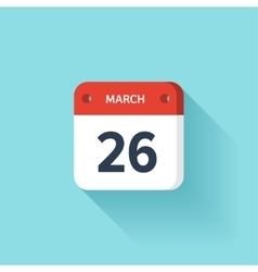 March 26 Isometric Calendar Icon With Shadow vector image