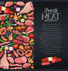 meat products with vegetables vector image