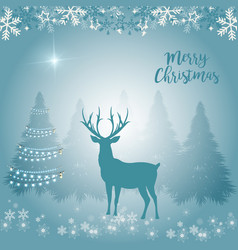 merry christmas a proud deer in the forest the vector image