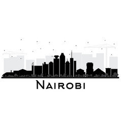 nairobi kenya city skyline silhouette with black vector image