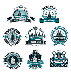 Nautical icons and marine symbols set vector