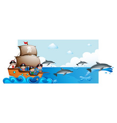Ocean scene with kids on ship and dolphins vector