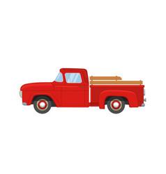 Old farmer red retro pickup truck vector