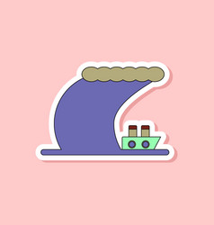 Paper sticker on stylish background ship storm vector