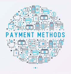 payment concept in circle with thin line icons vector image