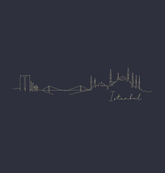 pen line silhouette istanbul dark blue vector image