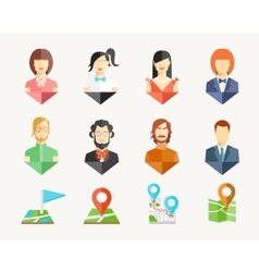 People avatar pins vector image