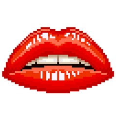 Pixel red woman lips isolated vector image