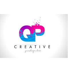 qp q p letter logo with shattered broken blue vector image