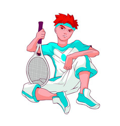 Redheaded teenager in white blue sports clothes vector