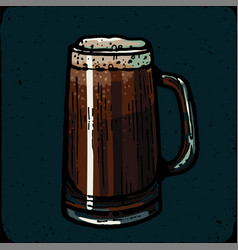 Retro style beer mug cup or glass engraving vector