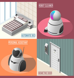 robotized hotels 2x2 design concept vector image