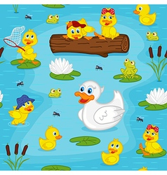 seamless pattern with ducks on lake vector image