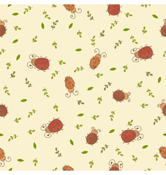 Seamless pattern with leaves and ladybirds vector image