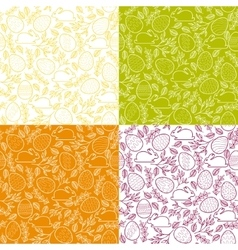 Seamless patterns with Easter eggs bunnies vector
