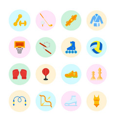 set flat icons sports equipment vector image
