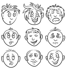 Set nine amusing male grimaces vector