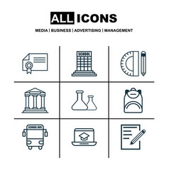 Set of 9 education icons includes haversack vector
