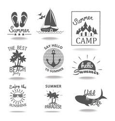 set of summer emblems and design elements vector image