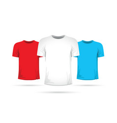 Set of three shirts with different colors vector
