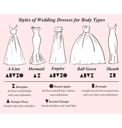 Set of wedding dress styles vector