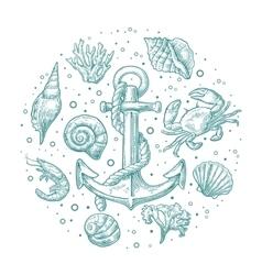 Set sea shell coral crab shrimp and anchor vector