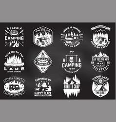 Set summer camp badges on chalkboard vector