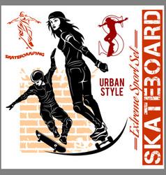 skateboarders - set of extreme sport vector image
